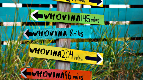 image of signs pointing toward finding Whovina
